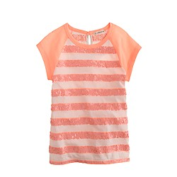 Girls' sequin-stripe raglan tee