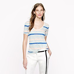 Drapey elbow-sleeve tee in multistripe