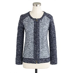 Bouclé jacket in indigo colorblock