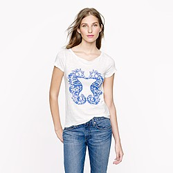 Vintage cotton tee in sea horse