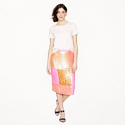 Collection sequin patchwork pencil skirt