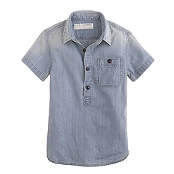 Boys' short-sleeve vintage chambray popover
