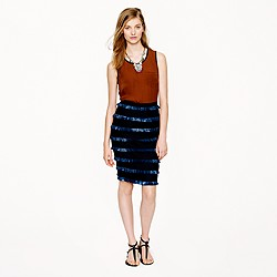 Collection fringed linen skirt