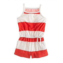 Girls' terry romper in stripe