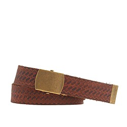 Leather basket-weave belt