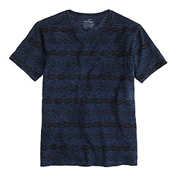 Indigo tee in double stripe ikat