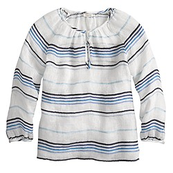 Stripe linen peasant top