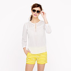 Petite embroidered gauze top