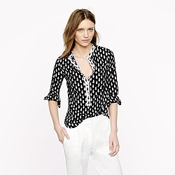 Pre-order petite collarless shirt in thistle print