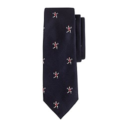 Silk tie in small embroidered weight lifters