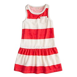 Girls' sleeveless terry dress in stripe
