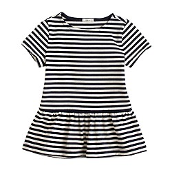 Girls' short-sleeve peplum tee in stripe