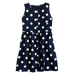 Girls' button-down polka-dot dress