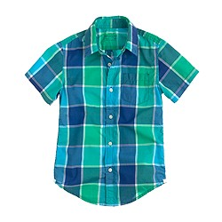 Boys' Secret Wash short-sleeve shirt in surf green check