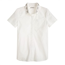 Jeweled-collar short-sleeve shirt