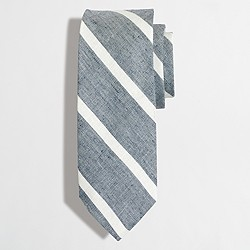 Factory cotton-linen wide-stripe tie