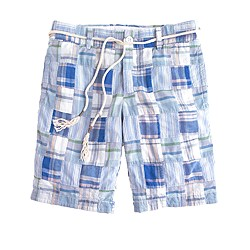 Patchwork plaid boyfriend short