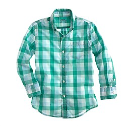 Boys' Secret Wash shirt in frost blue check