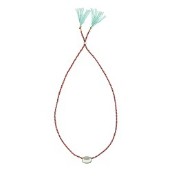 Girls' tassel necklace with milky stone