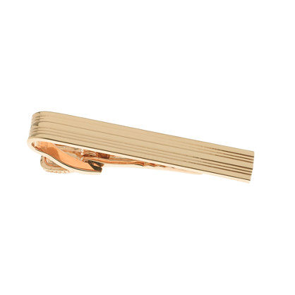 Double-stripe gold-plated tie clip