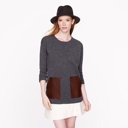 Merino leather-pocket sweater
