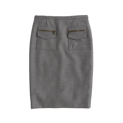 Patch-pocket pencil skirt