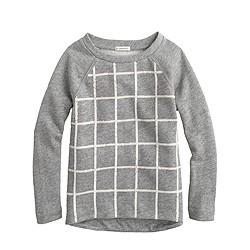 Girls' sequin grid sweatshirt