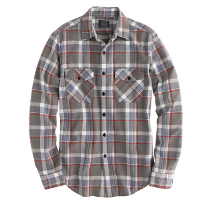 Flannel shirt in wet gravel plaid
