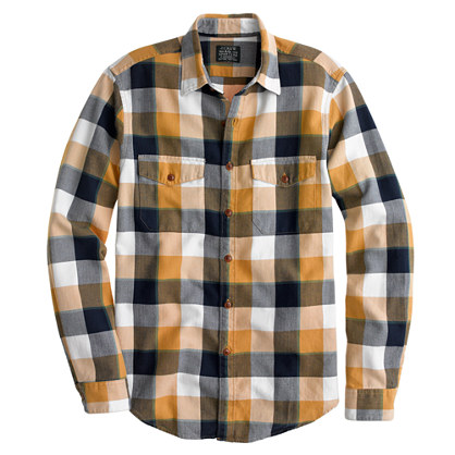 Flannel shirt in classic herringbone plaid