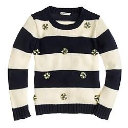 Girls' jeweled stripe sweater