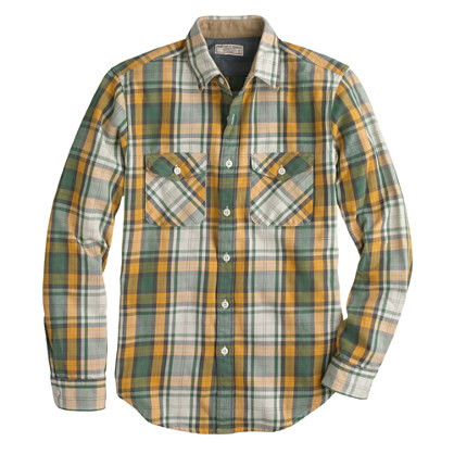 Wallace & Barnes heavyweight flannel shirt in bronzed sun plaid