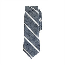 Boys' tie in stripe cotton-linen