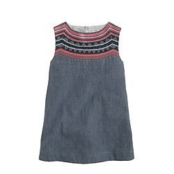 Girls' embellished chambray smock dress
