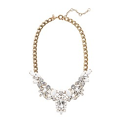 Crystal-encrusted collar necklace in white