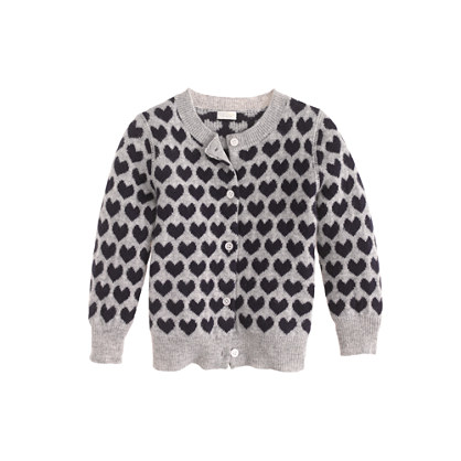 Collection cashmere baby cardigan in heart print