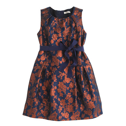 Girl's Silky Copper Bloom Jacquard Dress BY J Crew