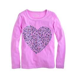 Girls' confetti sequin heart long-sleeve tee