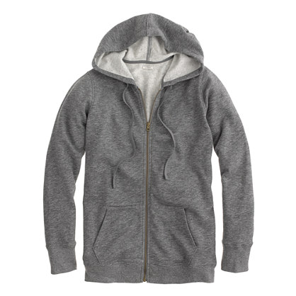 Heathered fleece zip-up hoodie