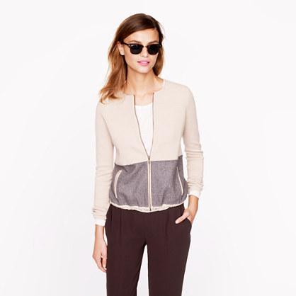 Two-tone zip cardigan
