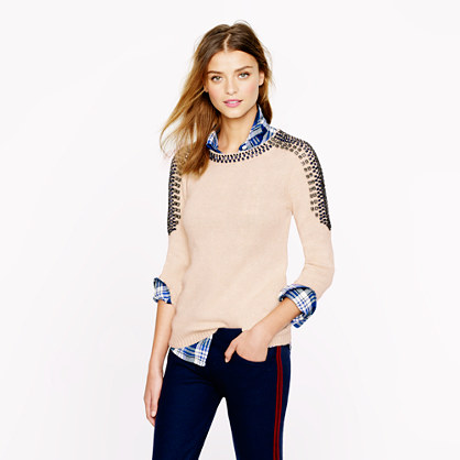 Collection cashmere jeweled-shoulder sweater