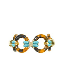 Tortoise and turquoise circle link bracelet