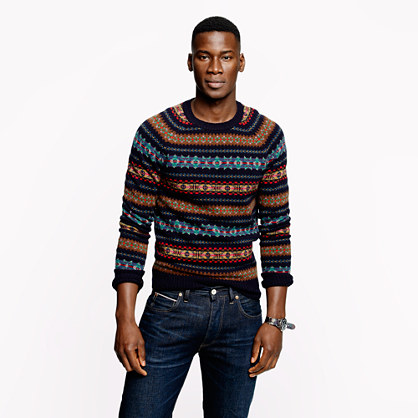 Alpine Fair Isle sweater in deep navy