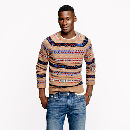 Alpine Fair isle sweater in heather brown