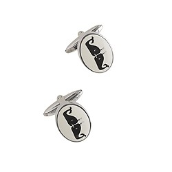 Kissing whale cuff links