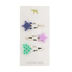 Girls' hearts and stars clip three-pack