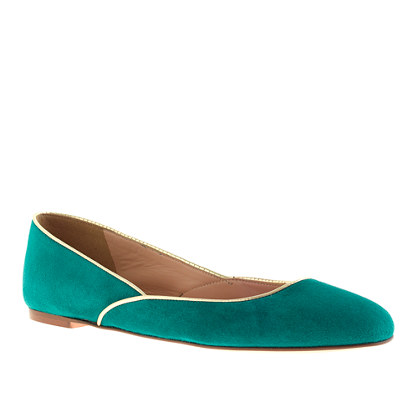 Piped suede ballet flats