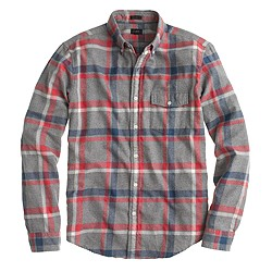 Slim brushed twill shirt in Danbury red plaid