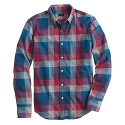 Brushed twill shirt in heathered plaid