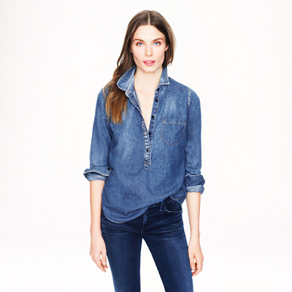 Classic chambray popover denim chambray j crew for Chambray shirt women