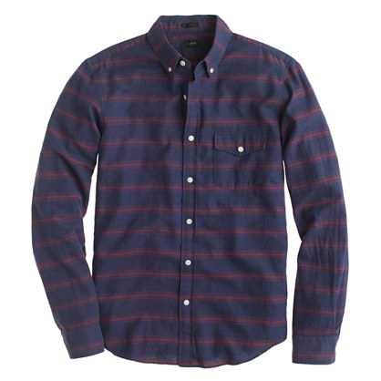 Brushed twill shirt in horizontal stripe